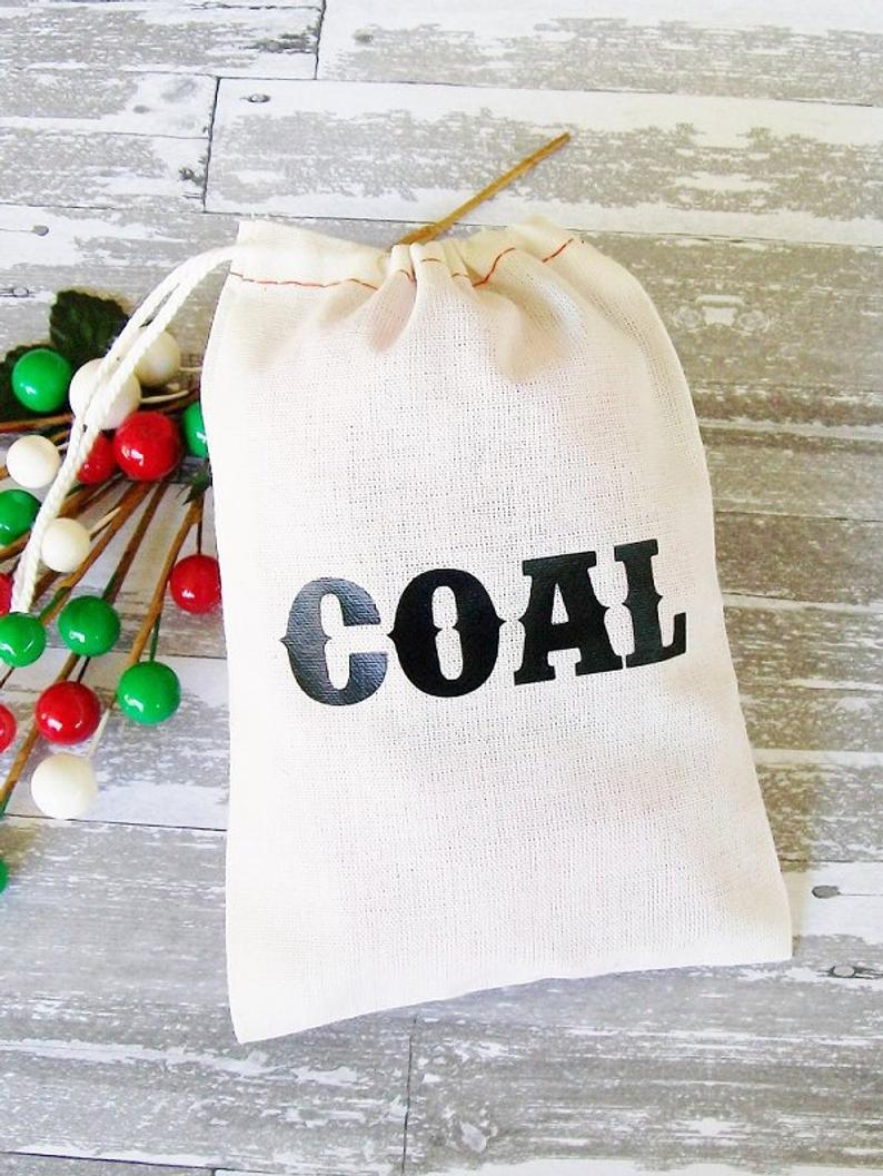 Christmas Coal Gift Bag, Size 4 inch x 6 inch