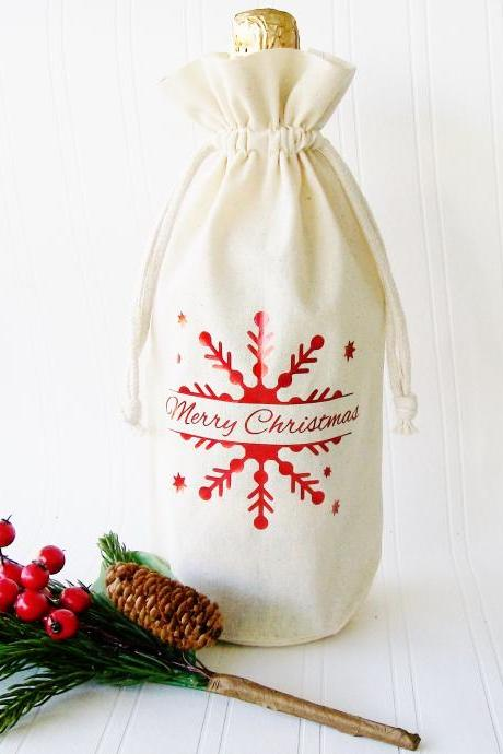 Christmas Wine Bag, Personalized Wine Bag, Happy Hanukkah Wine Bag, Hostess Gift, Business Gift, Wine Bag, Jute Wine Bag, Custom Wine Bag,