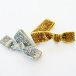 2 Glitter Hair Ties, Silver and Gold by Lucky Girl